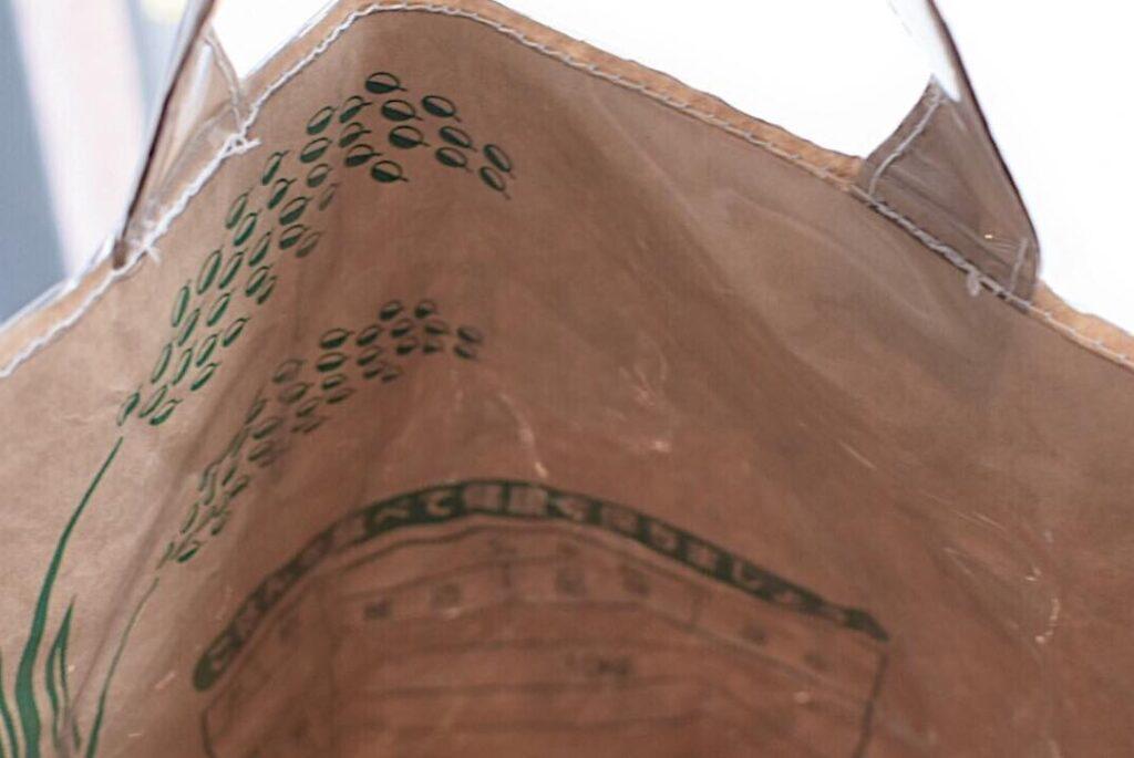 米袋で作ったKOMEKOYA オリジナルバッグ(内側)